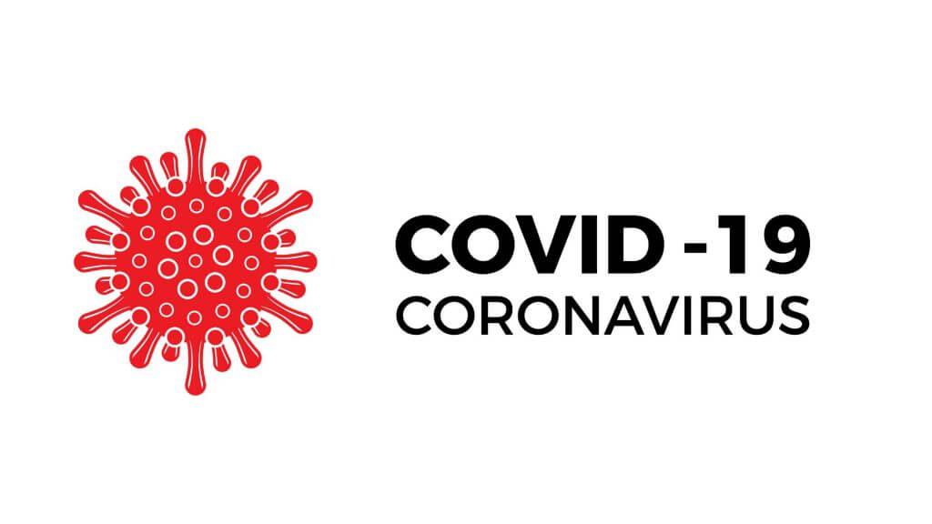 COVID-19の文字とマーク